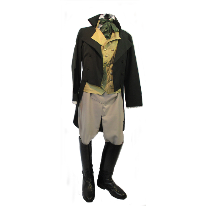 Green Cutaway Coat and leather boots